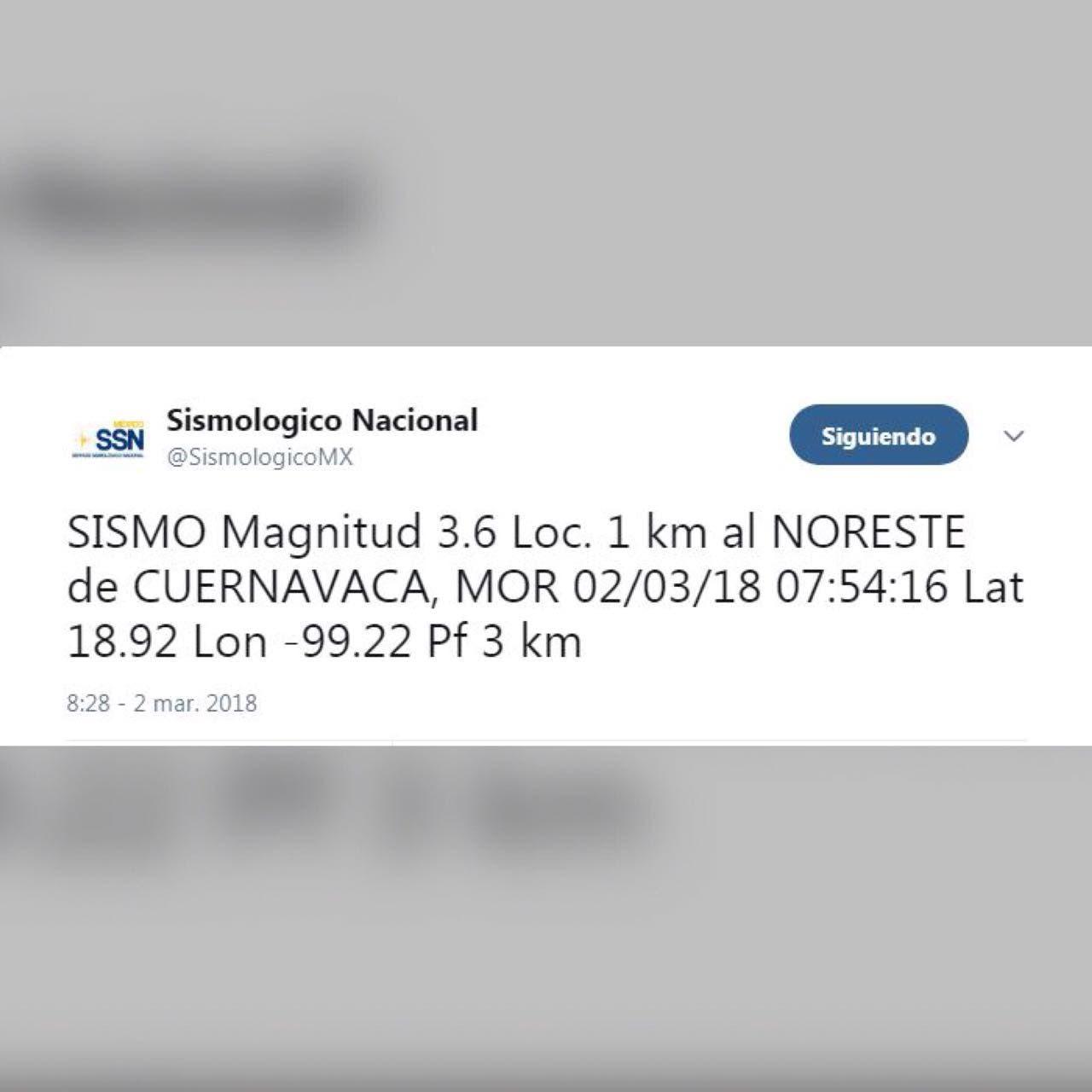 Sin afectaciones, tras nuevo sismo en Cuernavaca