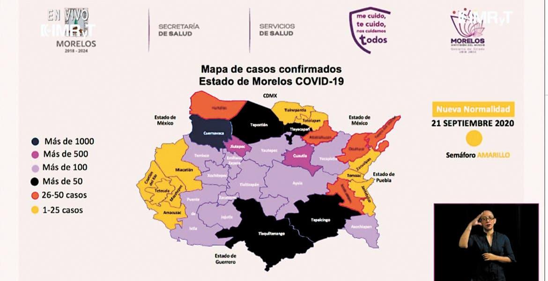 Bajo. Son diez municipios de Morelos  los que se encuentran aún por abajo de la línea de 25 casos positivos de COVID-19.