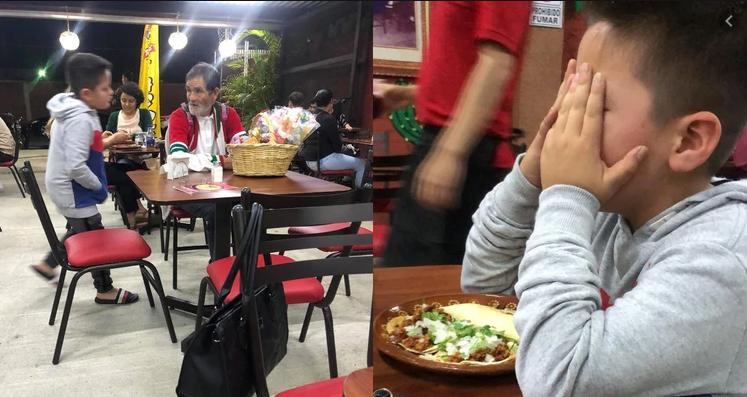 El niño mexicano que se volvió viral por dar dinero y comida a un anciano que vendía dulces