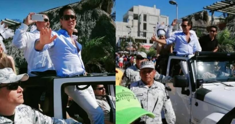 Roberto Palazuelos es custodiado por la Guardia Nacional
