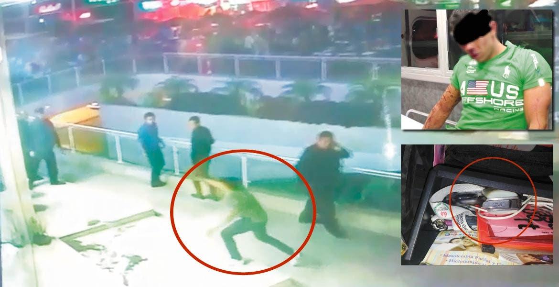 Ataque. A través de un video de seguridad se observa como el día de la agresión, Carlos Axel saca una pistola y dispara en contra de los guardias de seguridad de la plaza.