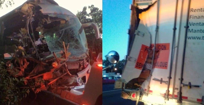 Choca autobús a tráiler en la México-Cuernavaca; hay 4 lesionados