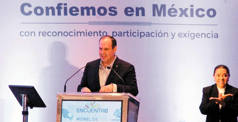 Discurso. Gustavo de Hoyos Walther, presidente de Coparmex, indicó que el Encuentro es muy importante en este momento, por el impacto mundial que ha traído la decisión del pueblo de Estados Unidos en la elección presidencial.