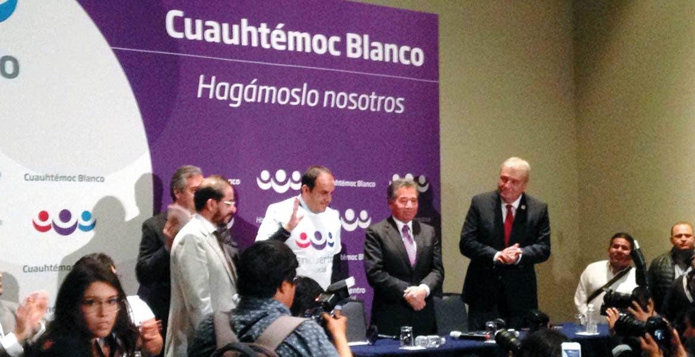Rueda de prensa. Acompañado por la dirigencia nacional del PES, el alcalde Cuauhtémoc Blanco Bravo recibió la afiliación a ese partido y dijo que aspira a la gubernatura del estado de Morelos.