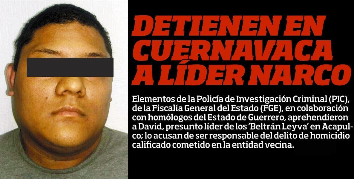 Elementos de la Policía de Investigación Criminal (PIC), de la Fiscalía General del Estado (FGE), en colaboración con homólogos del Estado de Guerrero, aprehendieron a David, presunto líder de los 'Beltrán Leyva' en Acapulco; lo acusan de ser responsable del delito de homicidio calificado cometido en la entidad vecina