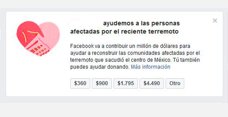 Facebook dona un millón de dólares por terremoto