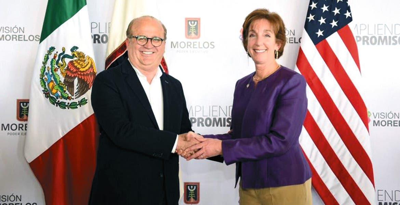 Reunión. El Gobernador Graco Ramírez fue anfitrión de la embajadora de Estados Unido en México, Roberta Jacobson, quien aseguró que se lleva una grata impresión de la visita a la capital morelense