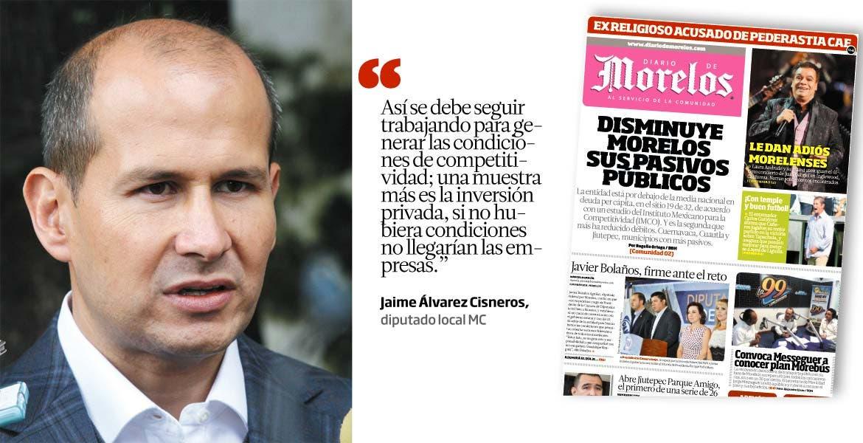 Así se debe seguir trabajando para generar las condiciones de competitividad; una muestra más es la inversión privada, si no hubiera condiciones no llegarían las empresas. - Jaime Álvarez Cisneros, diputado local MC
