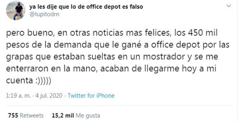 Joven escribe tuit de broma, diciendo que ganó 450 mil pesos al demandar a empresa y todos le creen