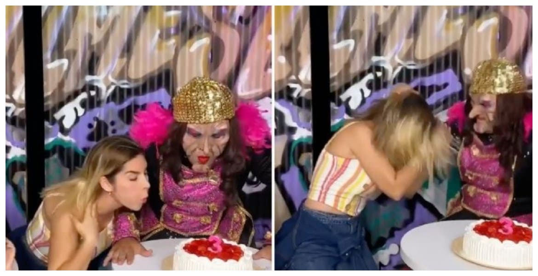 Karla Panini recrea el video de la niña del pastel y la desgreñan