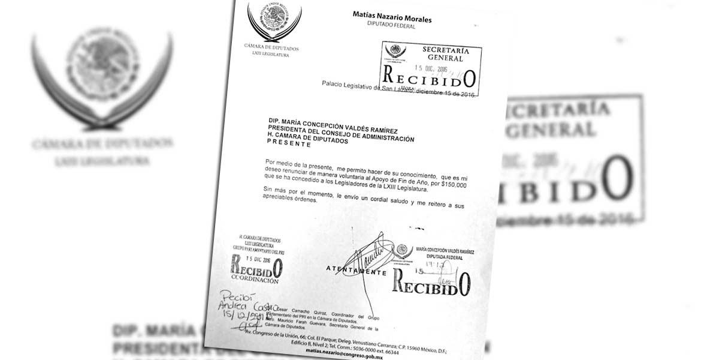 """CIUDAD DE MÉXICO.- El diputado federal del Partido Revolucionario Institucional (PRI), Matías Nazario Morales, decidió renunciar al """"Apoyo de fin de Año"""", que por 150 mil pesos fue programado para los 500 legisladores de la Cámara de Diputados."""