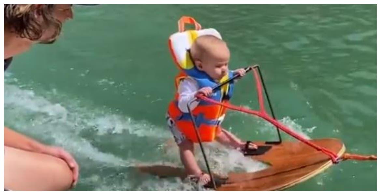 Padres ponen a su bebé de 6 meses a hacer esquí acuático ¿Increíble o imprudente?