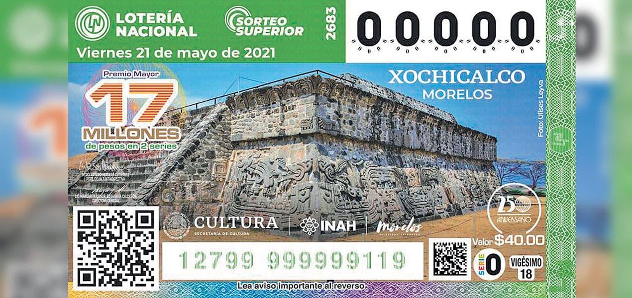 Va Xochicalco al billete de la Lotería Nacional
