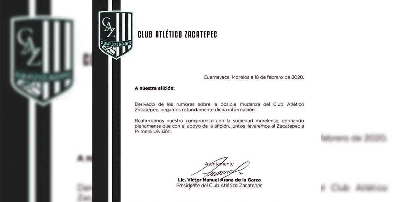 Directiva del Atlético Zacatepec niega mudanza de la franquicia a otro Estado