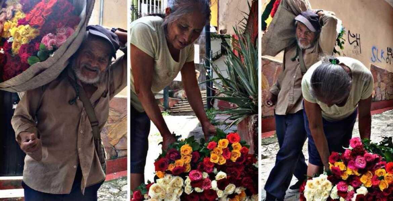 Abuelitos de Temixco vienen hasta Cuernavaca para vender sus rosas