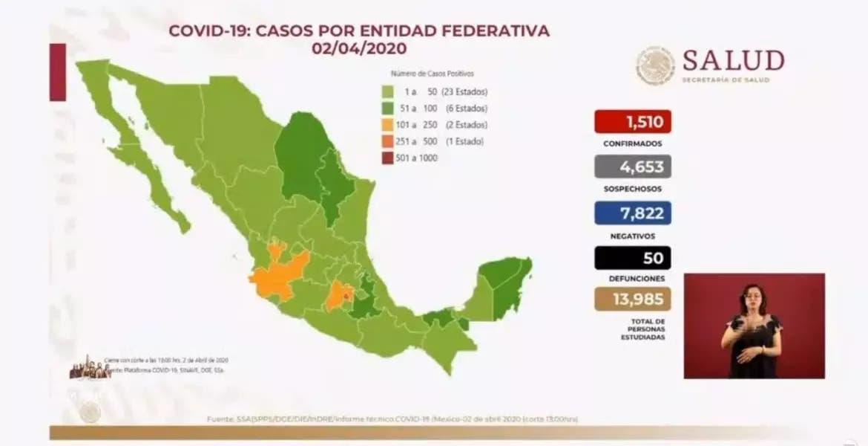Sube a 50 número de decesos por coronavirus en México