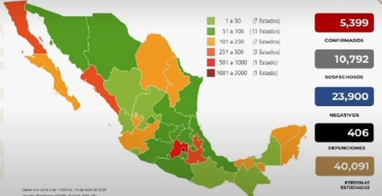 Superan los 400 decesos por coronavirus en México