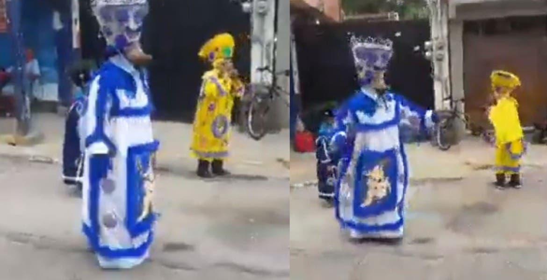 Abuelito y nietos recorren calles de Cuernavaca vestidos de chinelo; piden apoyo para comer