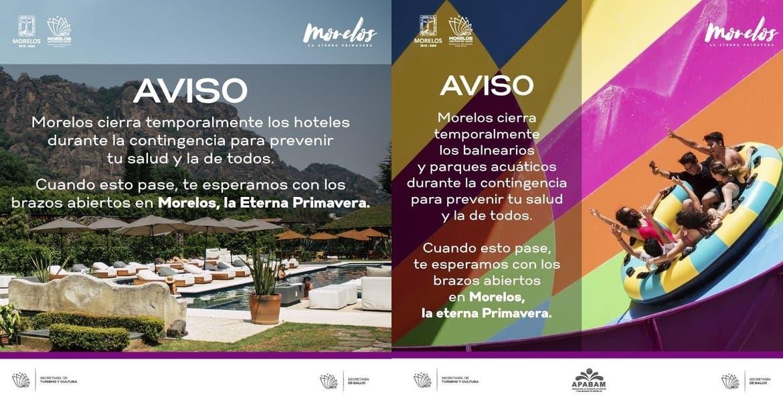 Atención: cierran temporalmente hoteles, balnearios y parques acuáticos de Morelos