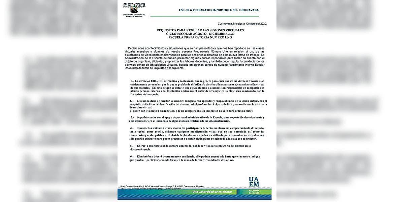 Endurecen medidas para clases virtuales en la Prepa 1, de Cuernavaca