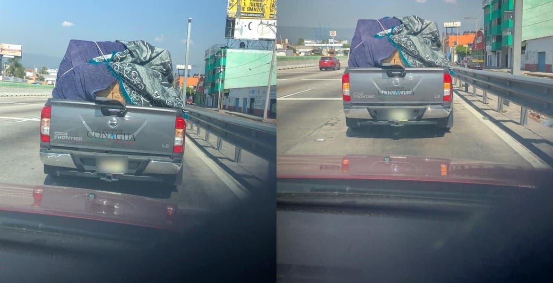 """Camioneta con logos de Conagua llevando """"chelas"""" en Morelos enciende las redes sociales"""