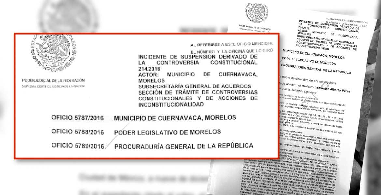 Recepción - Documento que fue recibido por la Suprema Corte donde se menciona la ampliación de la controversia.