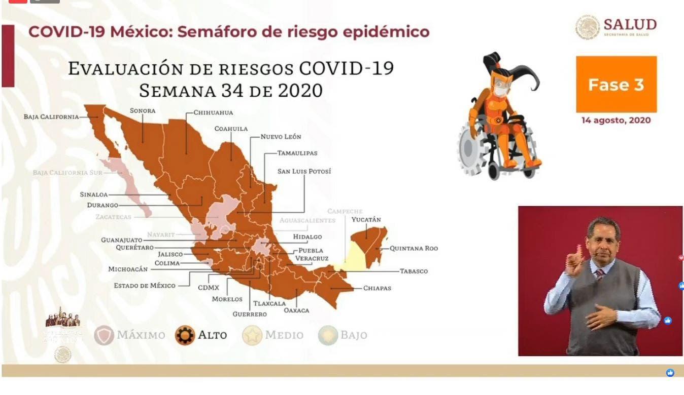 Mayoría de estados, incluyendo Morelos, en semáforo naranja por COVID-19