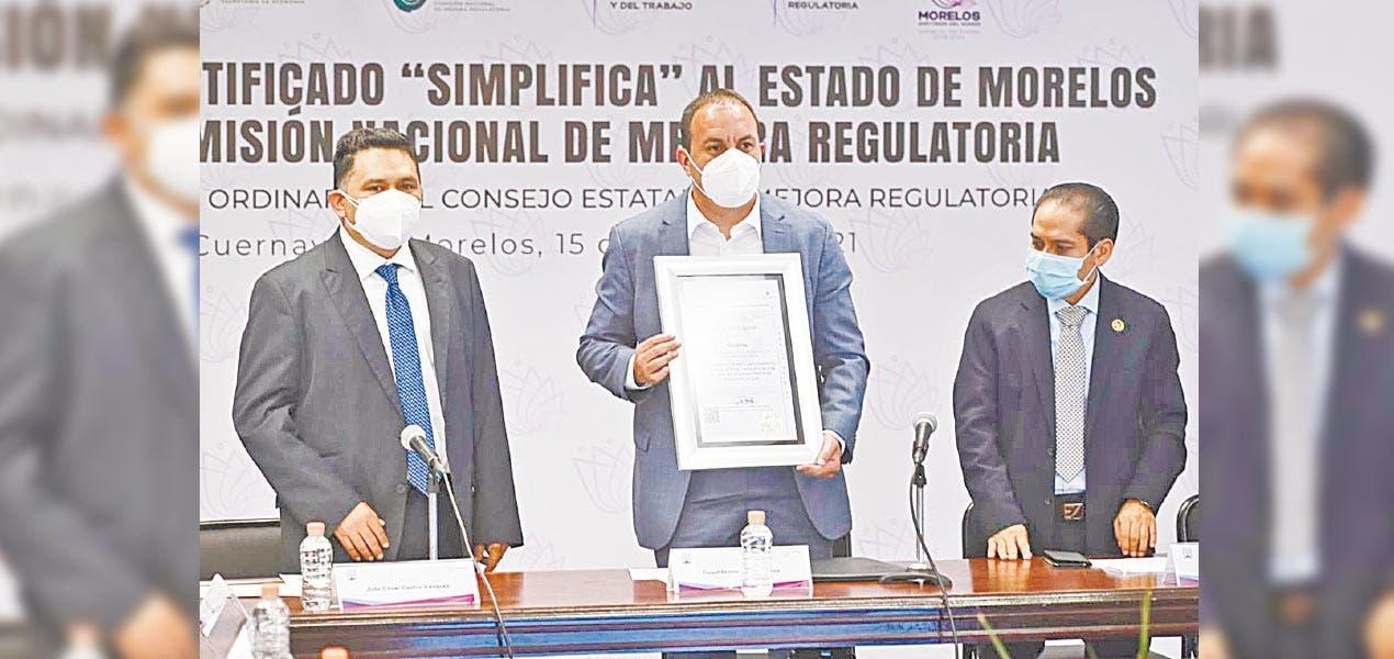 Certifica Conamer a Morelos por simplificar trámites