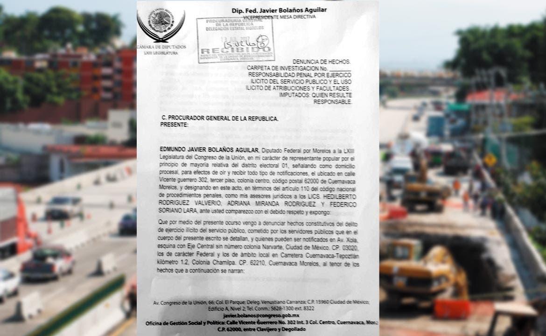 El documento que contiene la demanda fue presentado ayer por el legislador federal ante la PGR y ante la Contraloría