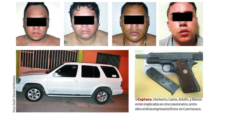 Captura. Heriberto, Carlos, Adolfo, y Néstor, están implicados en cinco asesinatos, entre ellos el de la empresaria Elvira, en Cuernavaca.