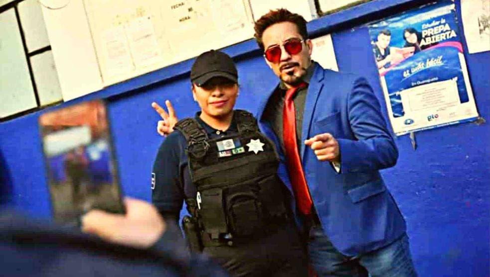 """Iron Man protege a Guanajuato; """"Tony Stark"""" es asesor de la policía"""