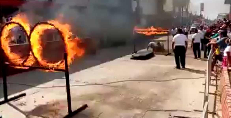 Elemento de la policía municipal sufrió quemaduras durante el desfile en Tabasco