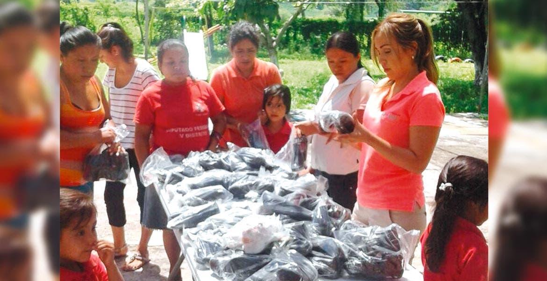 Evento. La presidenta del DIF de Yautepec, Johalín Meza Gómez, entregó 150 pares de zapato escolar y calzado ortopédico a los menores del jardín de niños y la escuela primaria de la colonia la Nopalera.