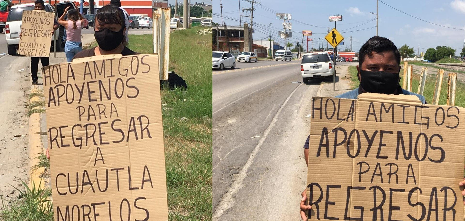 """Familia de Cuautla se queda varada en Altamira; ahora, """"botean"""" en las calles para regresar a la Heroica"""