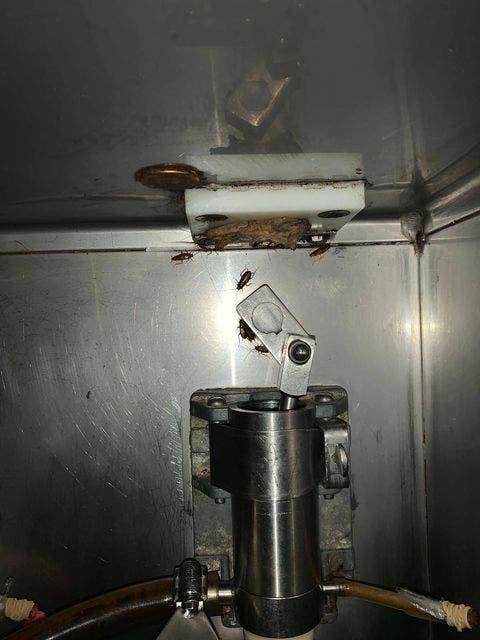 Las fotos son más que elocuentes. Evidencianla poca o nula higiene en la manera en que se almacena el helado, pues es posible ver incluso algunas cucarachas en los despachadores de la máquina.