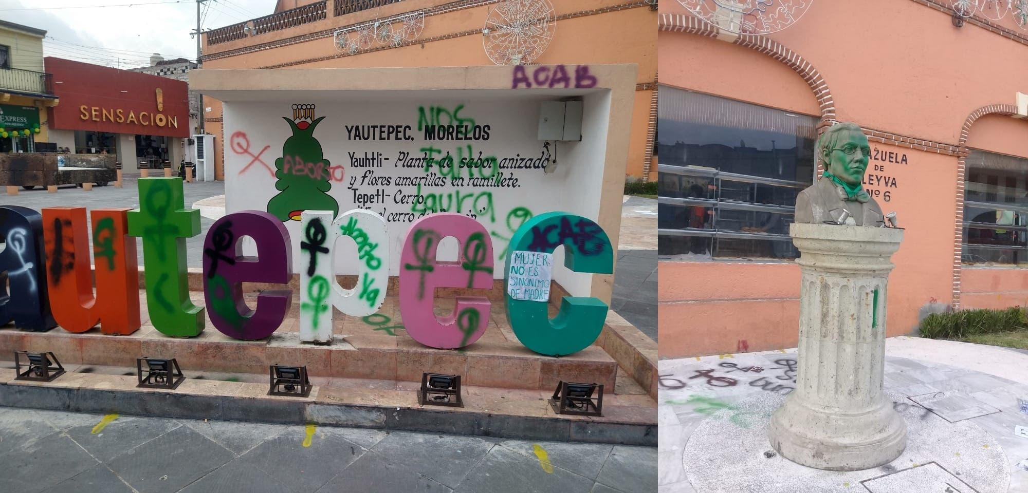 Reprueban en Yautepec el vandalismo de feministas hacia monumentos históricos