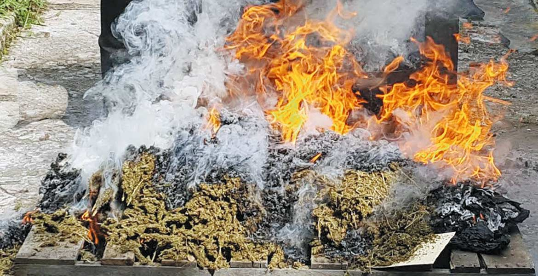 La droga. Agentes de la PGR quemaron mariguana, cocaína y psicotrópicos en cumplimiento al Programa de Destrucción de Narcóticos.