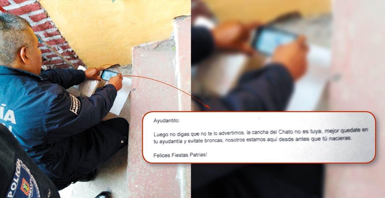 Pleito. En las instalaciones de la Ayudantía Municipal, le dejan un mensaje anónimo a Gerardo Abarca.