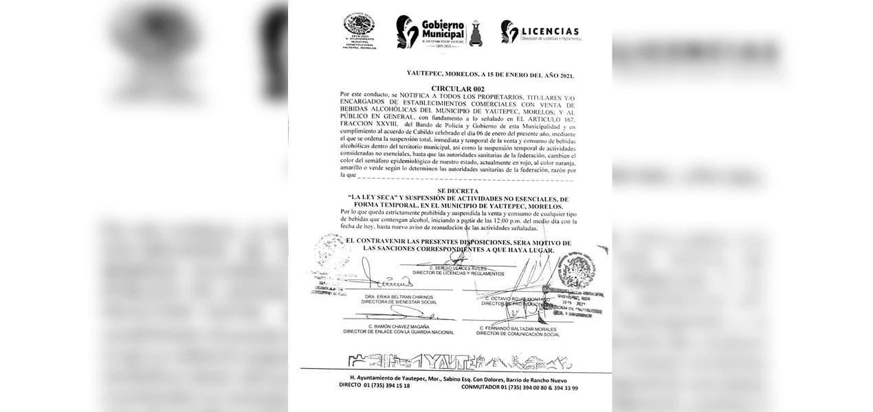 Habrá Ley Seca en Yautepec