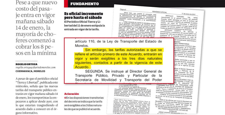 Aclaración - En las disposiciones transitorias del decreto se indica que la tarifa será exigibles a los 3 días naturales de que se publicó el acuerdo.
