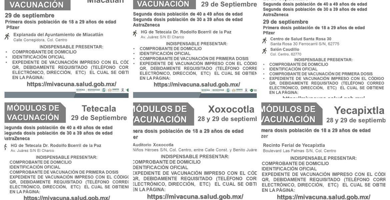 Vacunación Morelos: primeras y segundas dosis en 6 municipios más