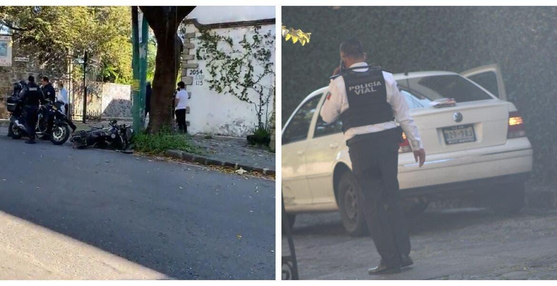 Auto se le atraviesa a policía y provoca que choque en Cuernavaca