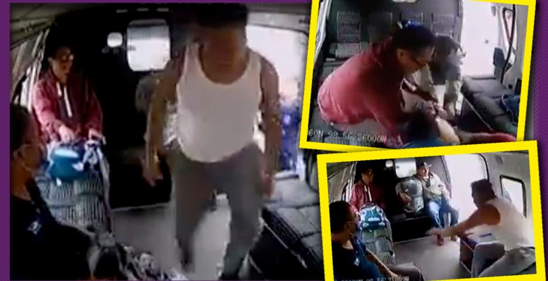 Pasajeros dan escarmiento a asaltante y lo tunden al interior de una combi, en la México-Texcoco