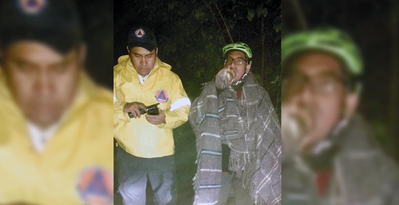 Auxilian. El ciclista José Roberto Vázquez Raya fue rescatado tras perderse en el corredor biológico Chichinautzin.