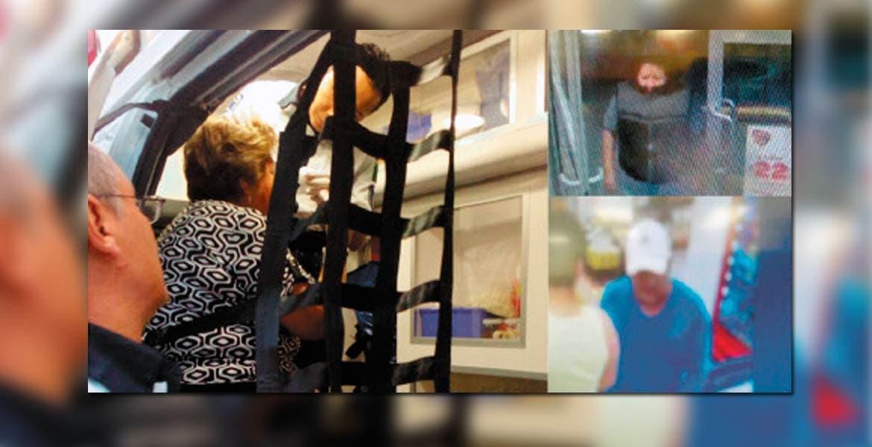 Atención. Paramédicos atendieron a la mujer, luego de que presenciara el asalto cuando compraba mercancía en un minisúper de la colonia Flores Magón. A la derecha, el hombre y la mujer que asaltaron.