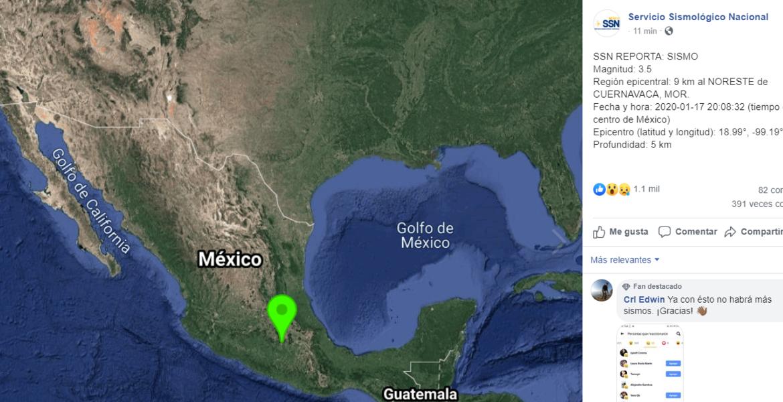 Registra Cuernavaca esta noche un sismo de 3.5