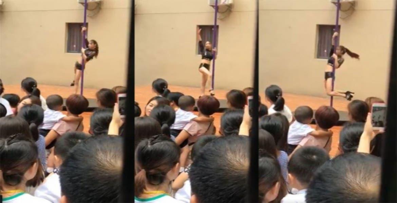 Inauguran kindergarten con un show stripper para los niños