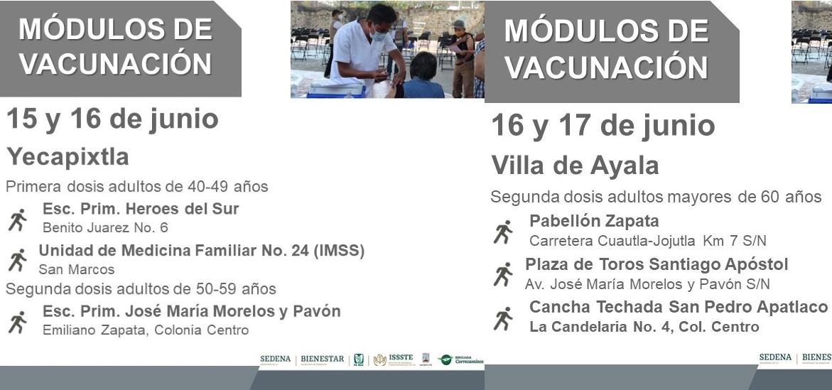 Inicia el martes en Morelos aplicación de vacuna vs COVID19 a los de 40 a 49 años