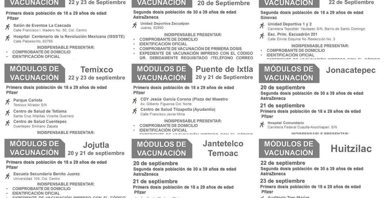 Vacunación: 10 municipios de Morelos aplicarán primera dosis de Pfizer a los de 18 a 29 años