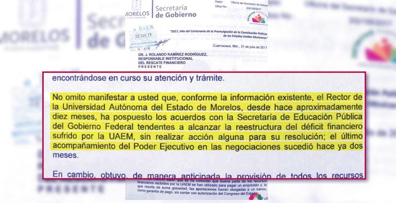 El documento enviado por Matías Quiroz donde señala la responsabilidad del Rector en el uso de recursos